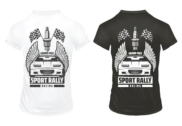 Vintage wyścigi samochodowe drukuje szablon z napisem sport wykończenie samochodów flagi świeca zapłonowa na koszulkach na białym tle