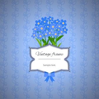 Vintage wzór etykiety z niebieskimi kwiatami