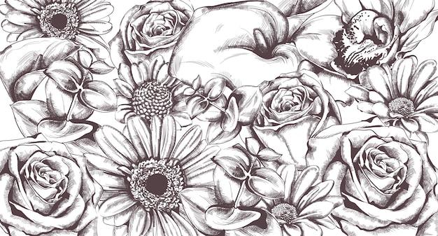 Vintage wzór kwiatów
