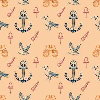 Vintage wzór morskich bez szwu