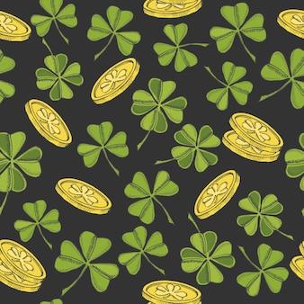 Vintage wzór na dzień świętego patryka. czterolistna koniczyna świętego patryka i złote monety na czarno
