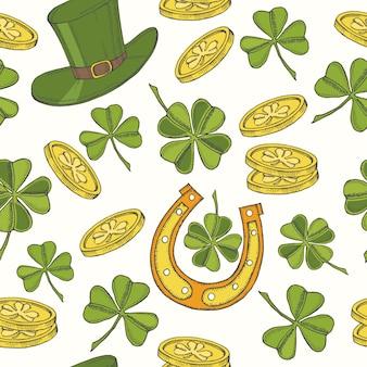 Vintage wzór na dzień świętego patryka. kapelusz świętego patryka, podkowa, czterolistna koniczyna i złote monety.