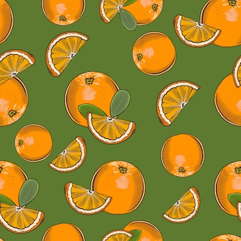 Vintage wzór z całych pomarańczy i plasterków.
