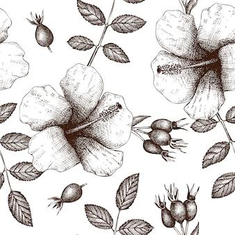 Vintage wzór z herbacianymi składnikami herbaty - hibiskusa i psiej róży.
