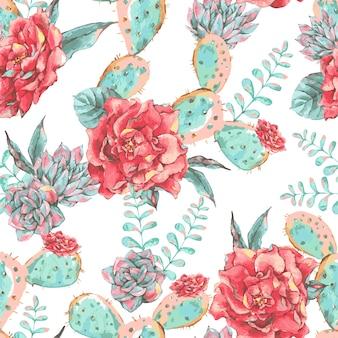 Vintage wzór z kwitnących kwiatów