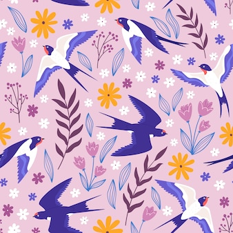 Vintage wzór z latającymi jaskółkami, kwiatami i roślinami. wiejska łąka nadruk z ptakami i liśćmi. wektorowa tapeta z rdzeniem domku