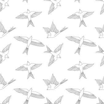 Vintage wzór z małymi jaskółkami. ładna ilustracja wektorowa