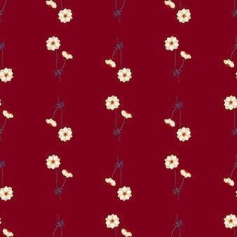 Vintage wzór z ornamentem kwiaty biały zawilec. ciemny bordowy tło. ilustracji. projekt wektor dla tekstyliów, tkanin, prezentów, tapet.