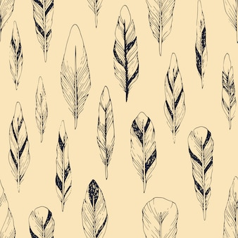 Vintage wzór z ręcznie rysowane piór
