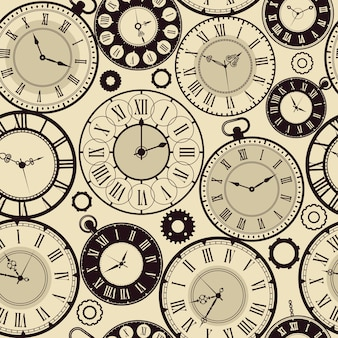 Vintage wzór zegara. stare retro zegarki koncepcja szybki czas bezszwowe tło. ilustracja wzór zegarka i antyczna tarcza zegara