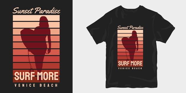 Vintage wzory t-shirtów sunset paradise, venice beach