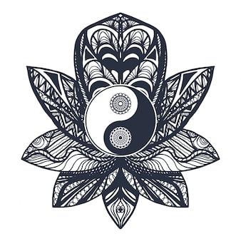 Vintage yin i yang w lotus