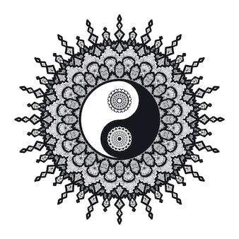 Vintage yin i yang w mandali