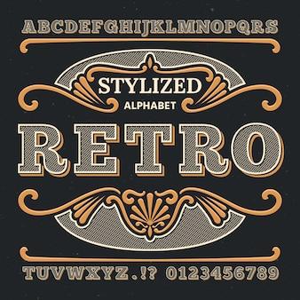 Vintage zachodniej typografii 3d. gotycki typ retro. retro cyfry i litery.