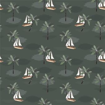 Vintage żaglówkę na oceanie z wzór palmy