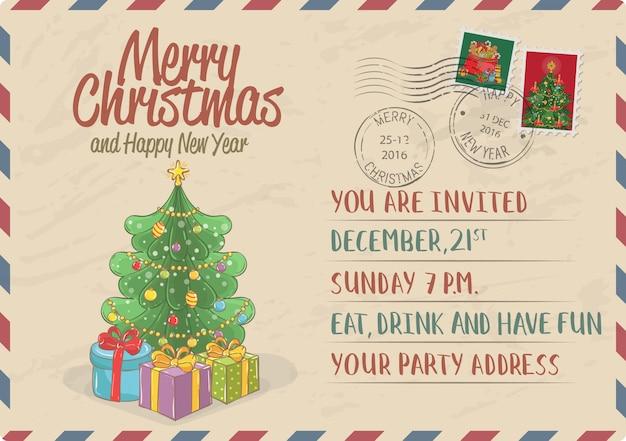 Vintage zaproszenie na boże narodzenie ze znaczkami pocztowymi
