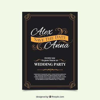 Vintage zaproszenie na ślub w eleganckim stylu