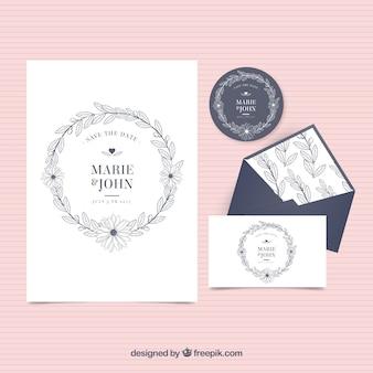 Vintage zaproszenie na ślub z kopertą i etykietą