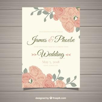 Vintage zaproszenie na ślub z pięknymi kwiatami