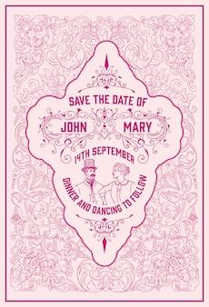 Vintage zaproszenie na ślub z różowymi detalami