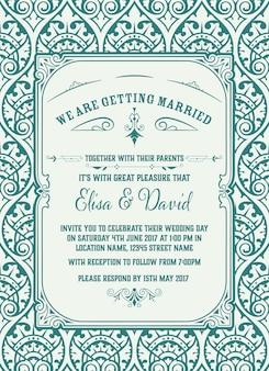 Vintage zaproszenie na ślub. zapisz datę.