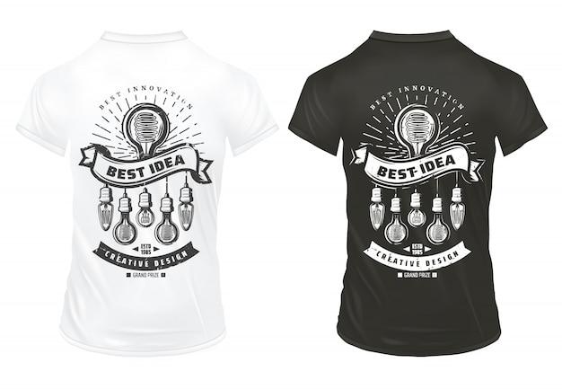 Vintage żarówki drukuje szablon z energooszczędnymi żarówkami o różnych kształtach na izolowanych koszulach