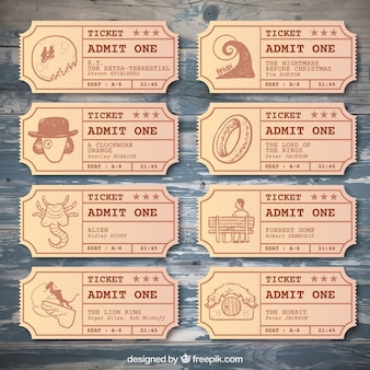 Vintage zbiórka bilet o znanych filmów