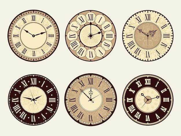 Vintage zegar. ilustracje wektorowe eleganckie zabytkowe metalowe zegarki. tarcza minutowa i cyfrowa, rzymska lub klasyczna