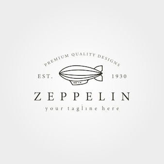 Vintage zeppelin sterowiec linia ikona logo ilustracja projekt