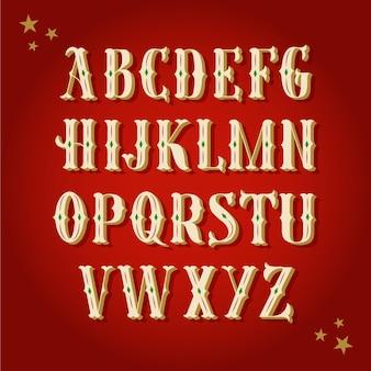Vintage zestaw alfabetu boże narodzenie