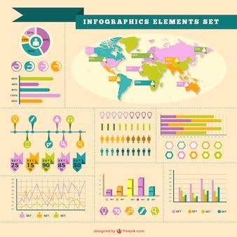 Vintage zestaw elementów infographic
