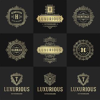 Vintage zestaw logo i monogramy