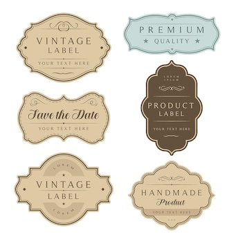 Vintage zestaw ramek etykiety i tagi