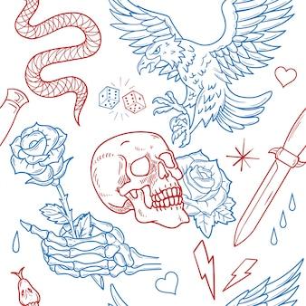Vintage zestaw wzór bez szwu drukuj old school modny projekt graficzny t shirt tee bluza bombowiec plakat naklejki łatka haft street wear rock dziki orzeł róża czaszka róża wąż nóż