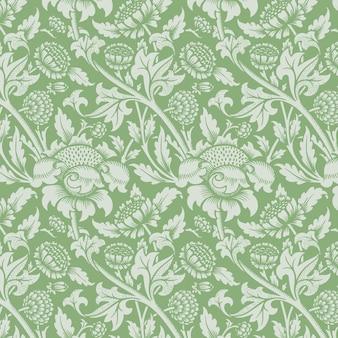 Vintage zielony kwiatowy ornament bezszwowe tło wzór