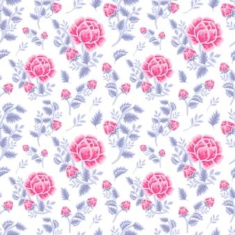 Vintage zimowy kwiatowy wzór fioletowy różowy bukiet róż, pąki kwiatowe i aranżacje gałęzi liści