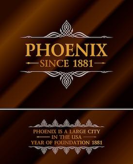 Vintage złota etykieta napis phoenix