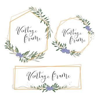Vintage złota ramka z liści i kwiatów na zaproszenie na ślub, karty, itp