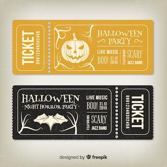 Vintage złote i czarne bilety na halloween