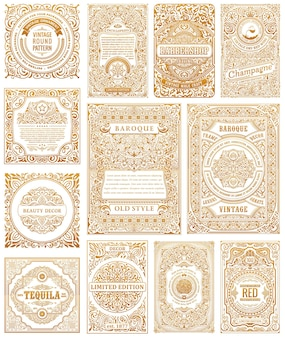Vintage złote karty kaligraficzne ramki projektowe etykiety
