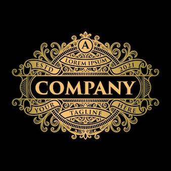 Vintage złote logo i szablon etykiety