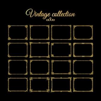 Vintage złote ozdobne ramki i obramowania