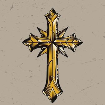 Vintage złoty elegancki krzyż religijny szablon