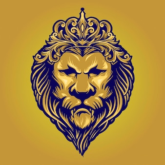 Vintage złoty król lew z ilustracjami korony ornament