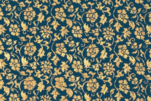 Vintage złoty kwiatowy wzór tła wektor, zawierający dzieła sztuki w domenie publicznej