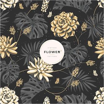 Vintage złoty luksusowy kwiatowy wzór