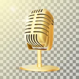 Vintage złoty mikrofon studyjny.