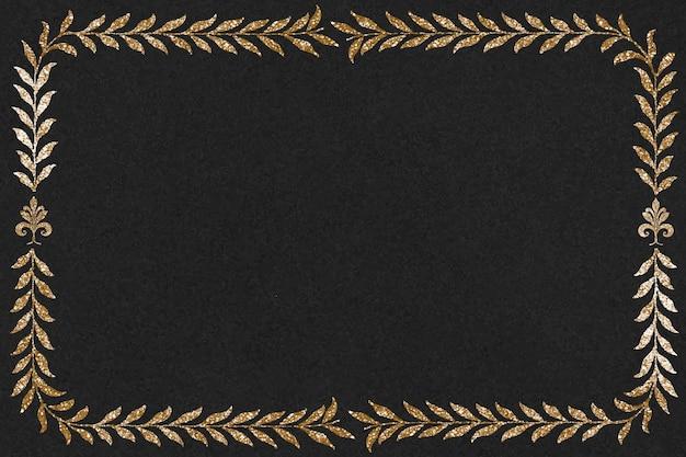 Vintage złoty prostokąt rama wektor, zawierający dzieła sztuki w domenie publicznej