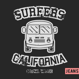 Vintage znaczek autobusu surfer