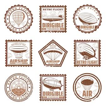 Vintage znaczki sterowca zestaw ze sterowcami lub zeppelinami śmigło balonów na ogrzane powietrze na białym tle
